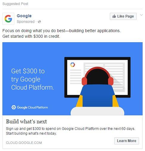 ejemplo anuncios facebook Google
