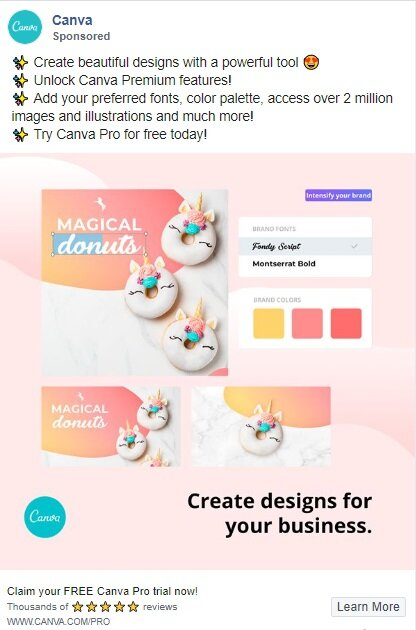 ejemplo Canva anuncios facebook
