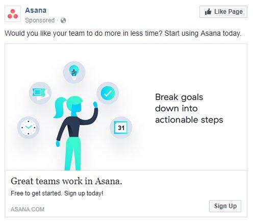 ejemplo de anuncio en facebook. Asana