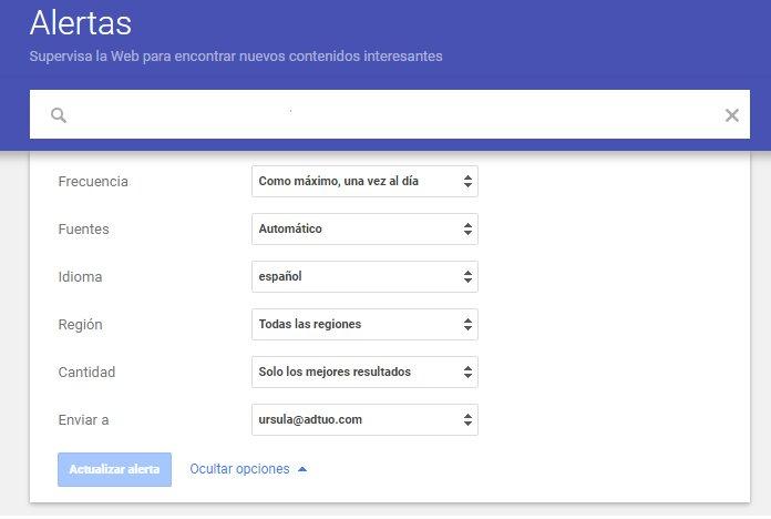 herramienta Google Alertas para monitoriear el contenido de tus competidores