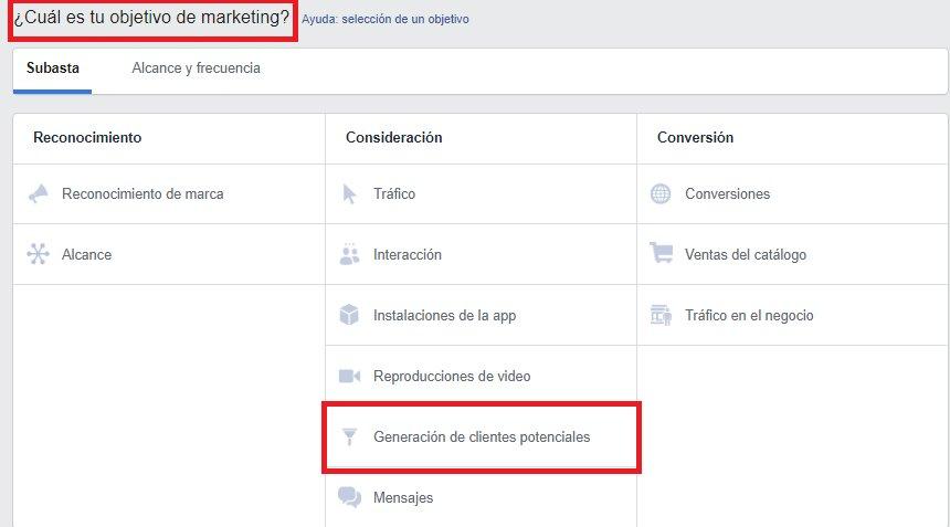 objetivo de marketing en facebook ads