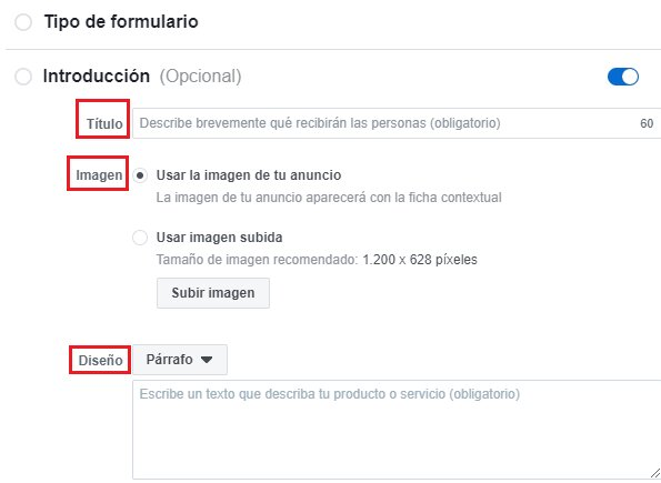 campos de un formulario de facebook lead ads