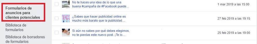 Formulario para anuncio de facebook leads 2