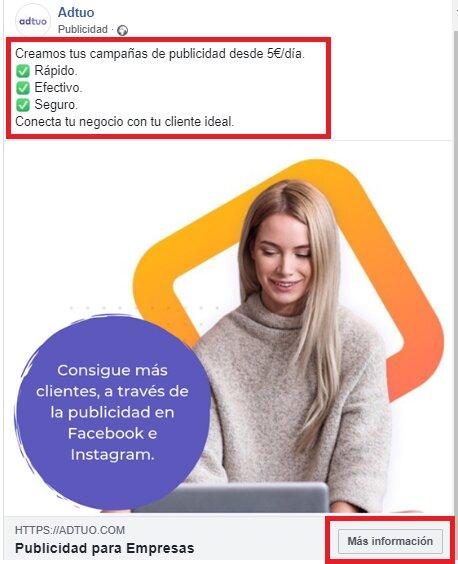 ejemplo de anuncio en facebook ads