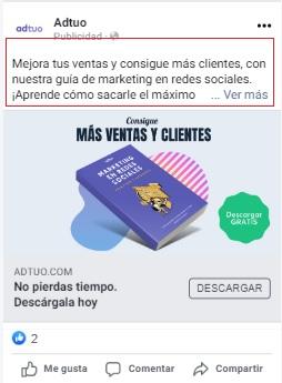 crear anuncios en facebook. Texto