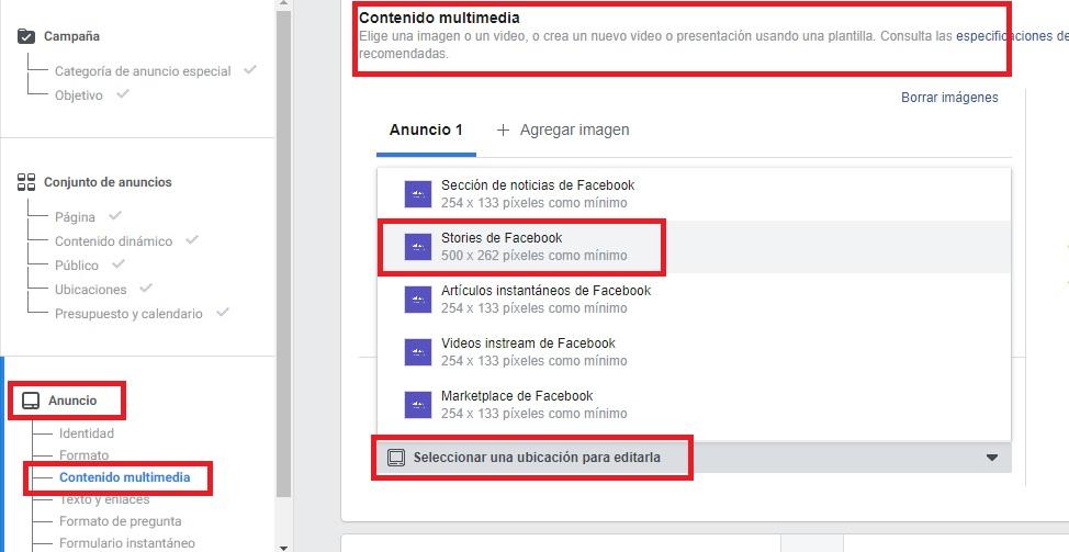 contenido multimedia en las historias de facebook