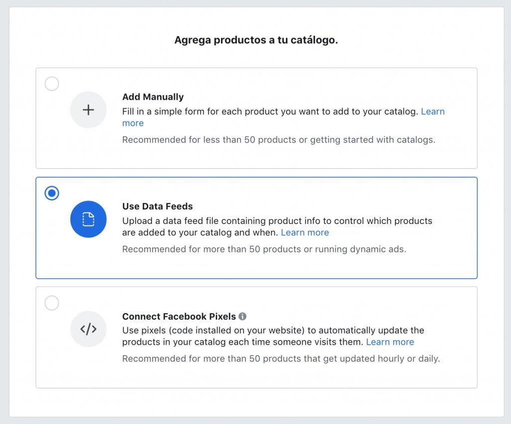 agregar productos al catálogo a través del feed de datos