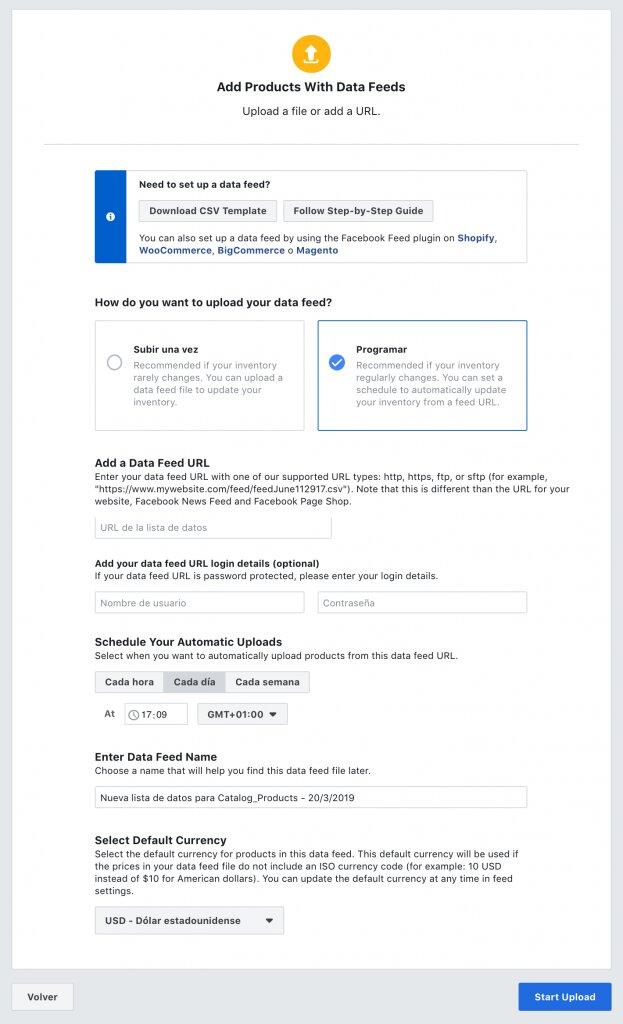 programar actualización del catálogo de facebook