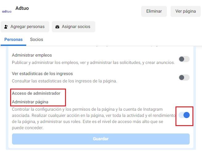 activar el acceso de administrador en tu página de facebook
