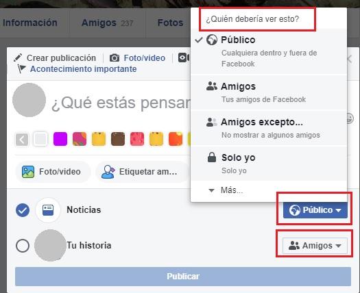 nivel de privacidad para las publicaciones de facebook