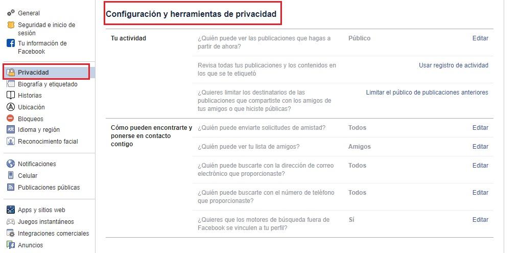 configuración y herramientas de privacidad en facebook