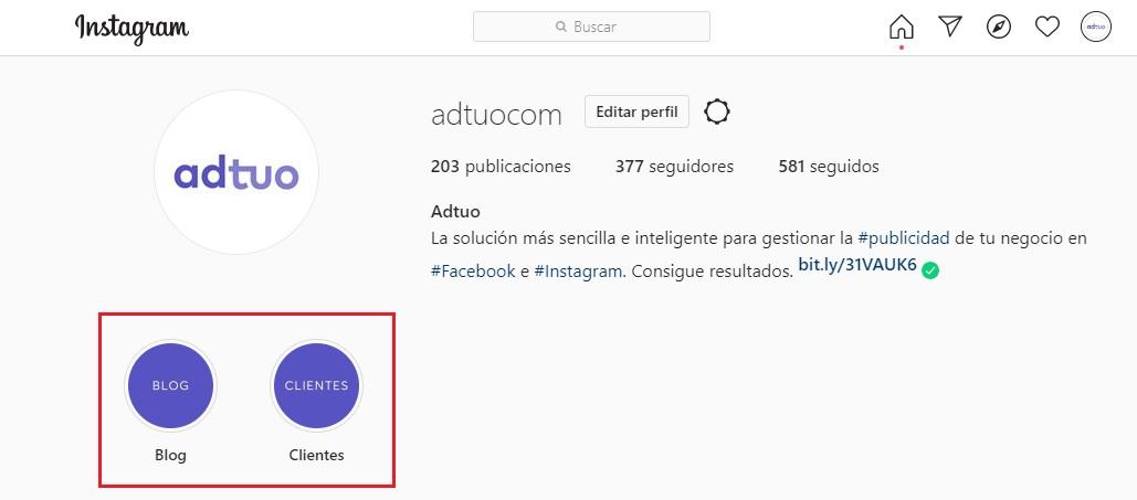 plan de social media marketing. Perfil de Instagram optimizado