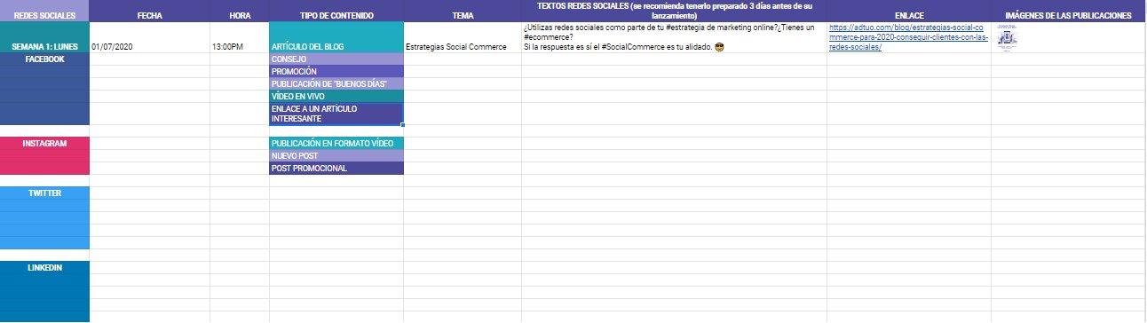 calendario de contenidos. Plan de marketing en redes sociales