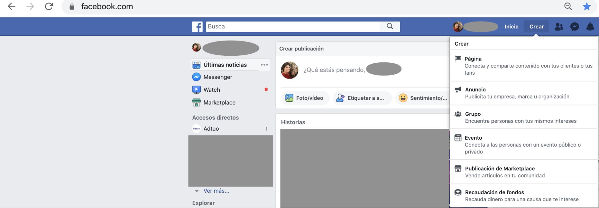 cómo crear una pagina en facebook- paso 1