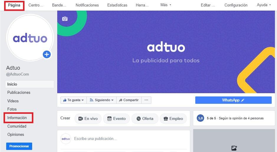 personalizar página de negocio en facebook