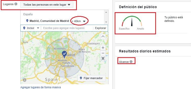 Segmentación por ubicación en las campañas de Facebook