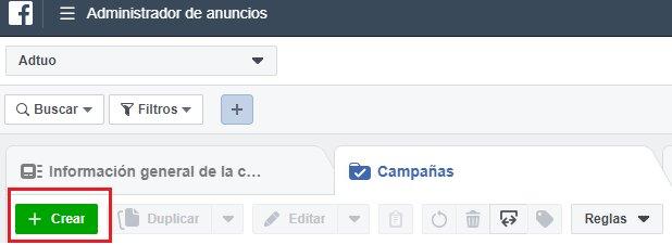 Crear campaña en Facebook Ads
