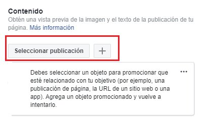 Seleccionar publicación dentro de tus campañas de Facebook Ads