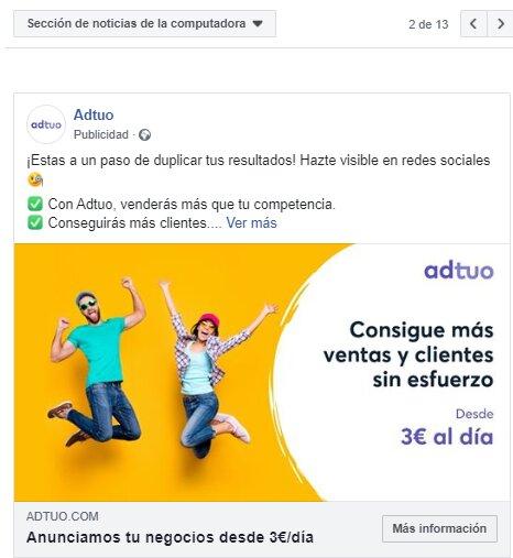 Anuncio en el feed de Facebook Ads