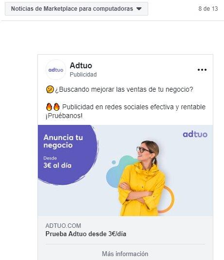 Anuncio Facebook Marketplace