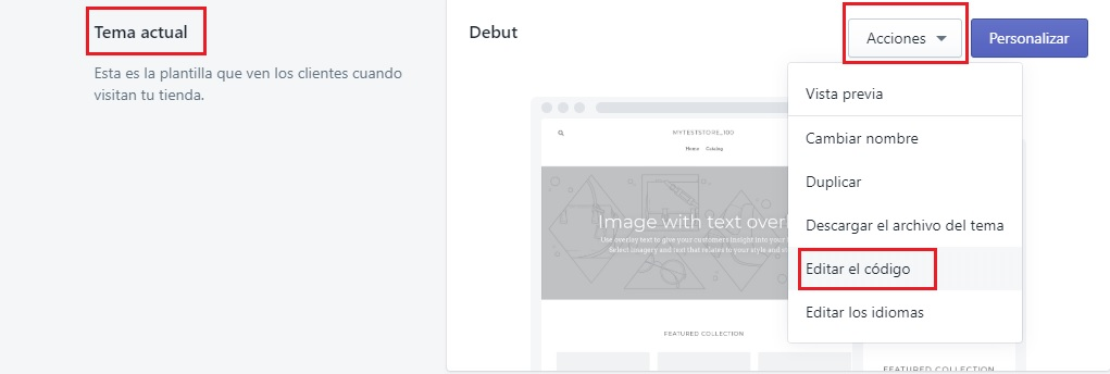 editar código menú temas en shopify