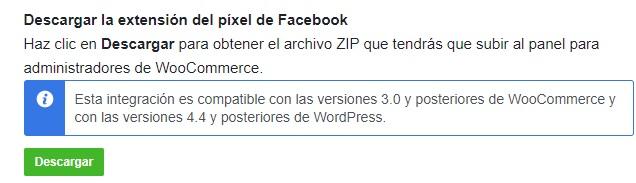 descargar extensión pixel de facebook para tu tienda woocommerce