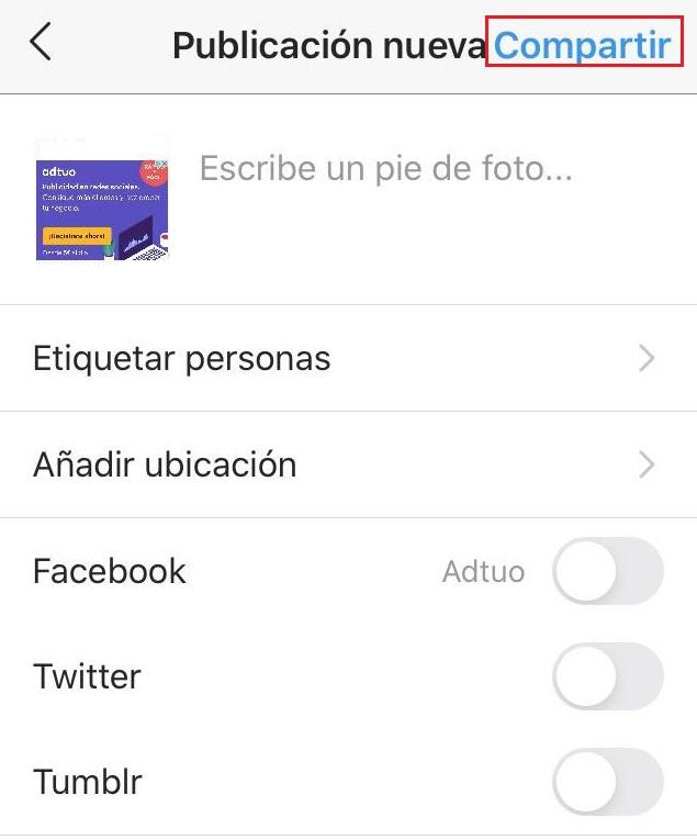 compartir publicaciones en instagram