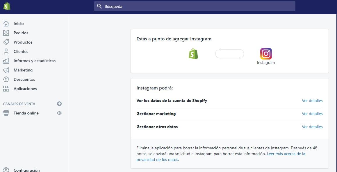 como vender en instagram con shopify. Agregar Instagram