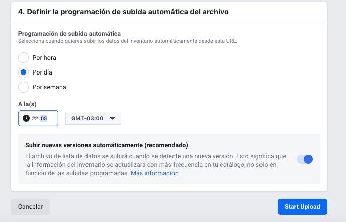 definir la actualización del catálogo de facebook