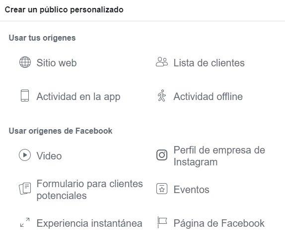 Origen del público personalizado de tus campañas en Facebook