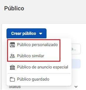 Desplegable para crear públicos en Facebook