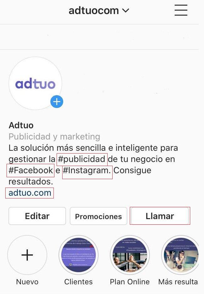información de contacto de tu perfil en instagram