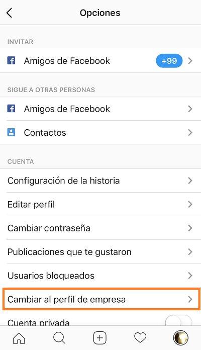 cambiar a perfil de empresa en instagram