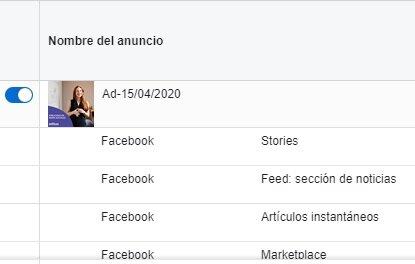 desglose por ubicación en un anuncio de facebook