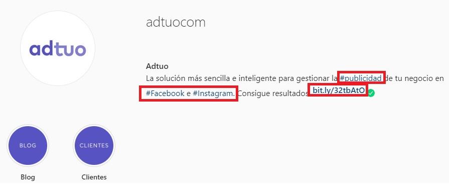 estrategias de instagram para empresas. Crear biografia de perfil