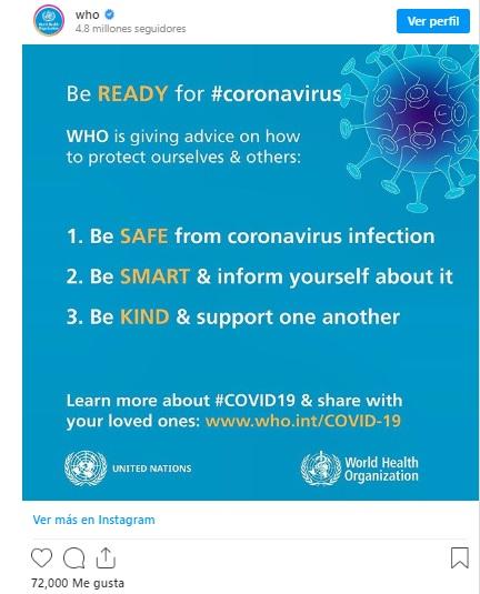 Publicación sobre consejos de hábitos saludables durante el coronavirus