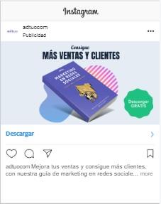 anuncio en el feed de instagram