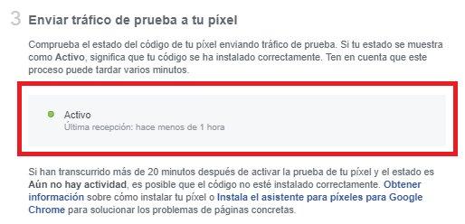 enviar tráfico de prueba al píxel de Facebook