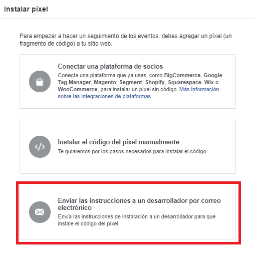 Instalar el píxel de facebook con ayuda de un desarrollador