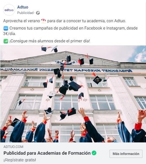 marketing educativo. Crear anuncios en facebook
