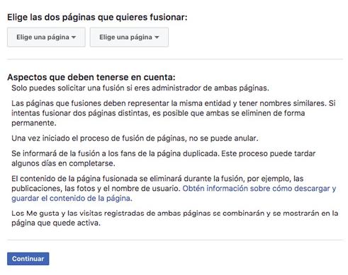 Fusionar un perfil personal y una página de Facebook