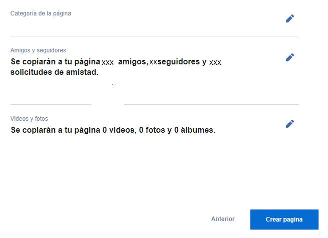 Pasar de un perfil personal a una página de empresa en Facebook - Paso 4