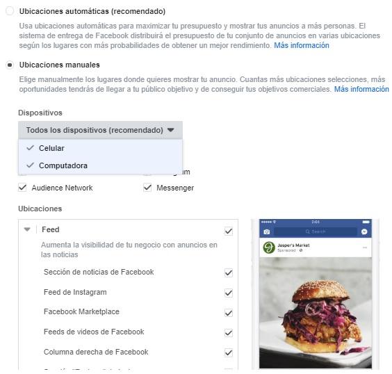 ubicaciones anuncios facebook ads