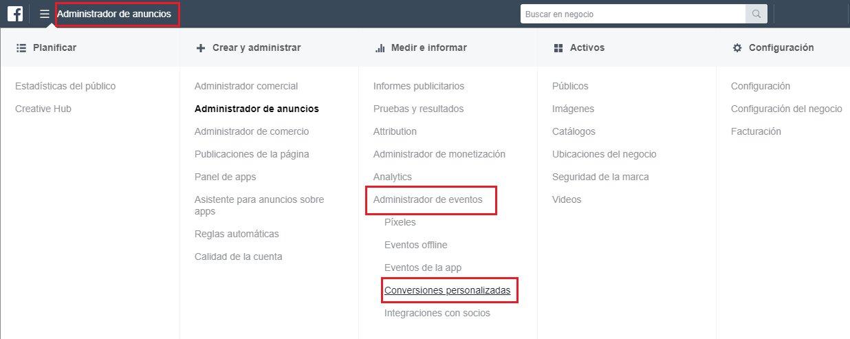 conversiones personalizadas y eventos de facebook ads