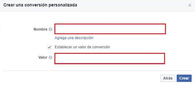 como crear una conversión personalizada