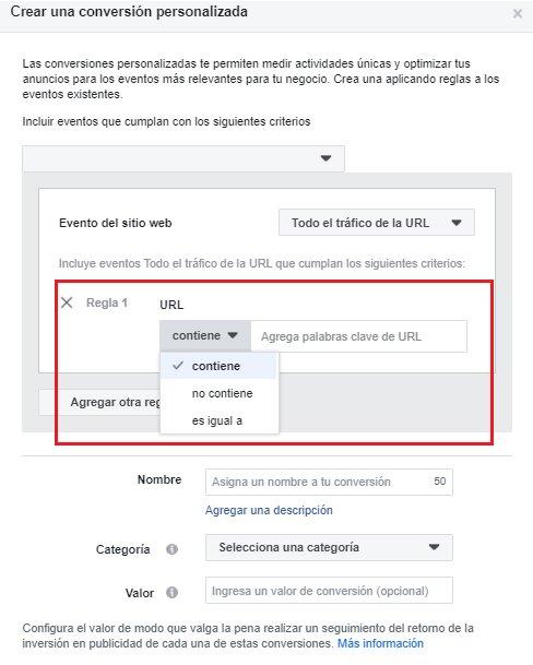 conveersiones personalizadas en facebook