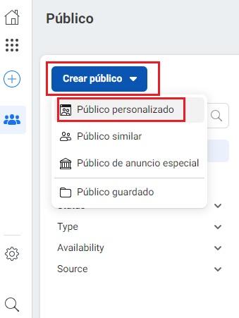 crear público personalizado dentro de facebook