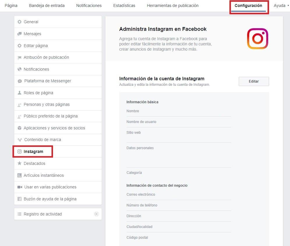 vincular instagram con facebook paso 1