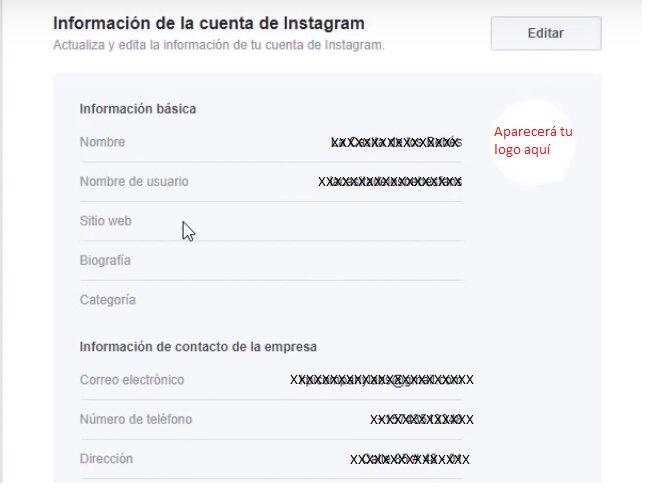 Información de cuenta de instagram para empresas paso 8