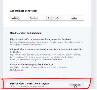 desvincular instagram con facebook paso 9